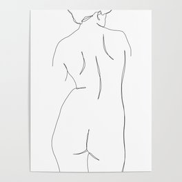 Nude womans back line drawing - Faith Poster