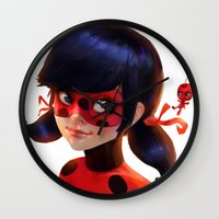 ladybug Wall Clocks featuring Ladybug by ChrySsV