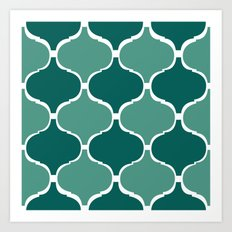 Marrakech Pattern Dark Green Art Print