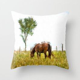 Horse Grazing in the Field.  Watercolor Painting Style. Throw Pillow