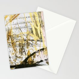 Armor [11]: a bold, elegant abstract mixed media piece in gold pink black and white Stationery Cards