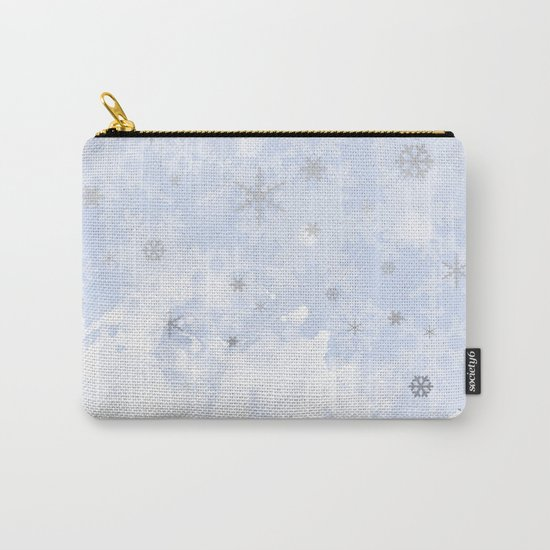 Silver snowflakes on blue Carry-All Pouch