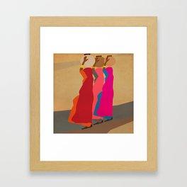 Three women carrying water 1 Framed Art Print