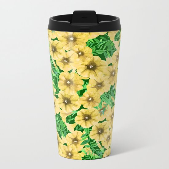 Yellow watercolor petunia flower pattern Metal Travel Mug