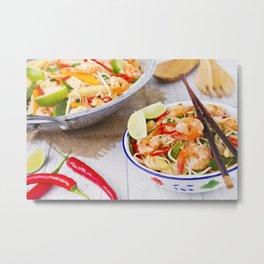 I - Healthy shrimp and vegetables stir-fry in a bowl, brightly lit Metal Print
