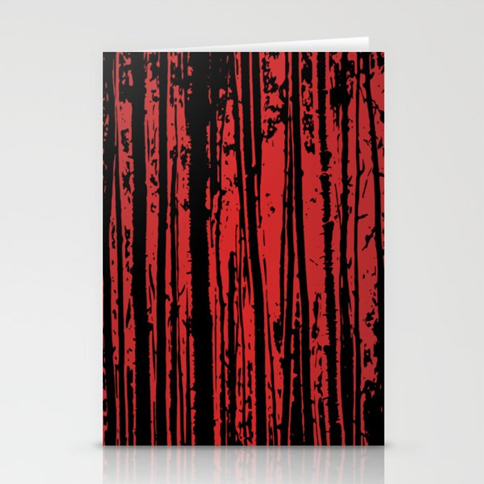 Red Tree Silhouettes Stationery Cards