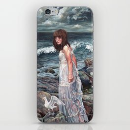 The Parting, Oil Painting Portrait of Woman on Rocky Beach with Seagulls During a Storm iPhone Skin