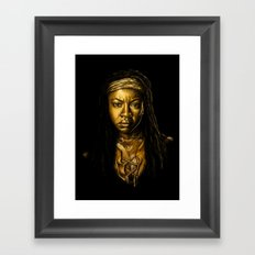 Michonne Golden Framed Art Print