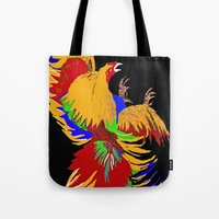 cock Tote Bags featuring Cock Fight by Saundra Myles