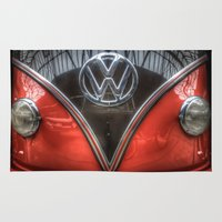 vw Area & Throw Rugs featuring VW Camper by Cozmic Photos