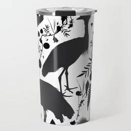 Black crowned crane with grass and flowers black silhouette Travel Mug