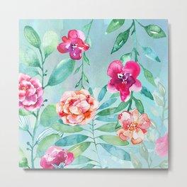 Pink Watercolor Flowers on Green Leaves Metal Print