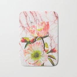Flowering on pink marble Bath Mat