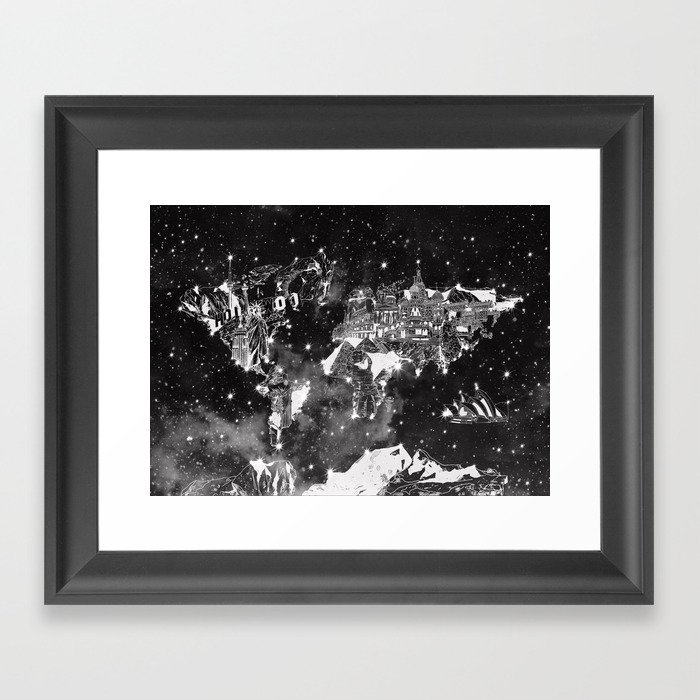 World map galaxy black and white framed art print by bekimart society6 world map galaxy black and white framed art print gumiabroncs Images