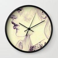 lolita Wall Clocks featuring lolita by adria mercuri