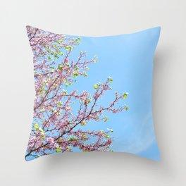 Blossoming Cercis siliquastrum or Judas tree Throw Pillow