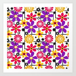 Fashionable floral multicolored pattern Art Print