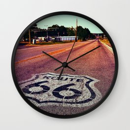 U.S. Route 66 highway, with sign on asphalt on Missouri. Wall Clock