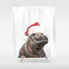 Christmas Baby Hippo Shower Curtain