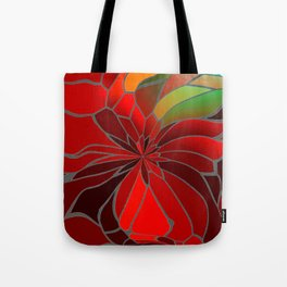 Abstract Poinsettia Tote Bag