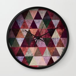 Abstract #480 Grunge Triangles #2 Wall Clock