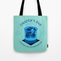 bar Tote Bags featuring Draper's Bar by Matt Dearden