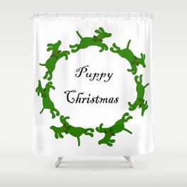 Puppy Christmas! Shower Curtain