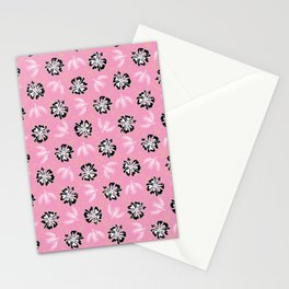 Black White Graphic Large Scale Flower Blooms Pattern Stationery Cards
