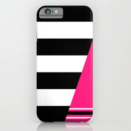 Black, white and neon pink stripes iPhone Case