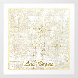 Las Vegas Map Gold Art Print