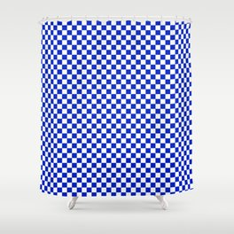 Small Cobalt Blue and White Checkerboard Pattern Shower Curtain