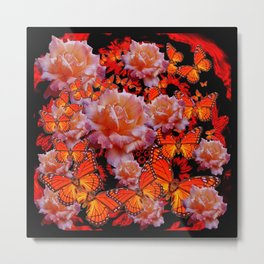 Decorative Old Roses Gold-Red Butterflies Metal Print