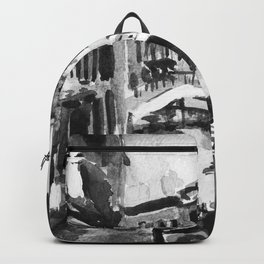 Venice Gondola Black and White Watercolor Painting Backpack
