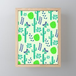 Cacti and butterflies Framed Mini Art Print