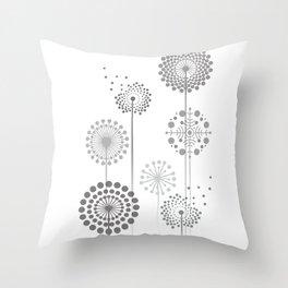 Monochrome Dandelions Throw Pillow