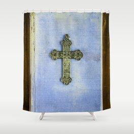 Blue Crucifix Shower Curtain