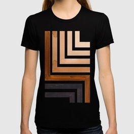 Raw Umber Mid Century Modern Watercolor Colorful Ancient Aztec Art Pattern Minimalist Geometric Patt T-shirt