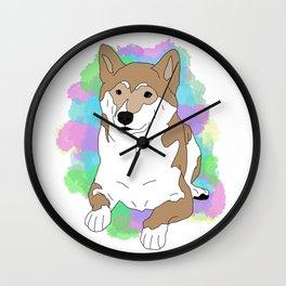 Shiba inu splatter paint Wall Clock