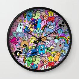 Doodle Monsters Comic Rainbow Wall Clock
