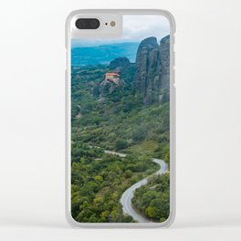 Meteora Monastery Landscape Clear iPhone Case