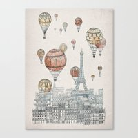 paris Canvas Prints featuring Voyages Over Paris by David Fleck