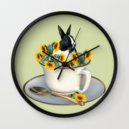 Rabbit with coffee cup and sunflowers Wall Clock