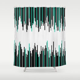 Frequency Line, Vertical Staggered Black, Gray & Teal Line Digital Illustration Shower Curtain