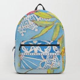 Goldfields Filigree - watercolour of eucalyptus & ironwork Backpack