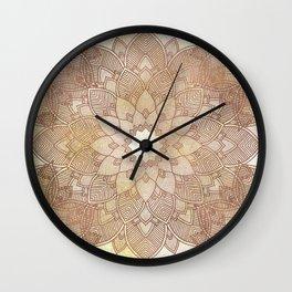 DESERT QUEEN - Bronze Mandala on Gold Wall Clock