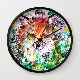 Hide and Seek - Fox Painting Wall Clock