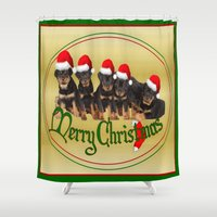 puppies Shower Curtains featuring Merry Christmas Rottweiler Puppies Greeting Card by taiche