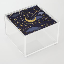 Celestial Stars and Moons in Gold and Dark Blue Acrylic Box