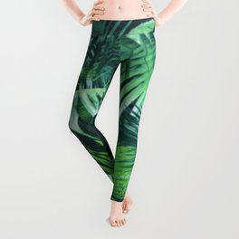 Tropical Botanic Jungle Garden Palm Leaf Green Leggings