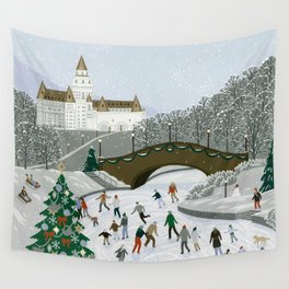 Ice skating pond Wall Tapestry